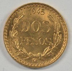 Great Gem BU 1945 Mexico 2 Pesos Gold Piece