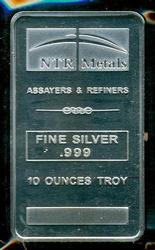 Pure .999 Fine Silver 10 Troy Oz NTR Bar in Plastic