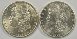 Choice BU 1899-O & 1901-O Morgan Silver Dollars