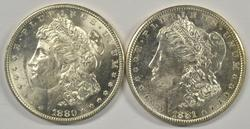 Flashy BU 1880-S & 1881-S Morgan Silver Dollars