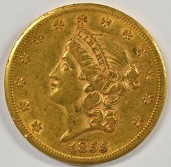 Very Scarce 1855-S Type 1 $20 Liberty Gold Piece. Nice