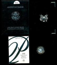 Year 2000 Gem Cameo PRF $10 Platinum Eagle. Box/COA