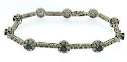 Gorgeous 14kt Teal Diamond and White Diamond Bracelet