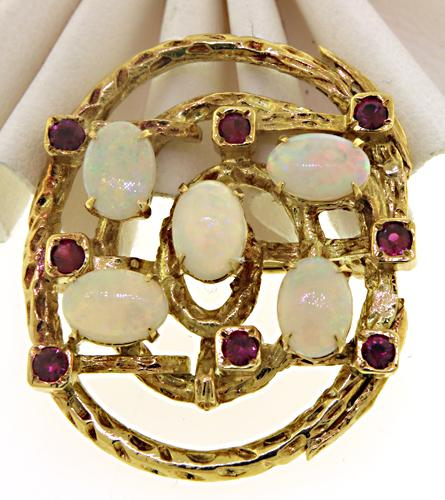 Lovely Yellow Gold Opal and Ruby Brooch