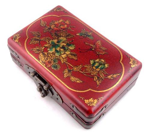 Red Leather Butterfly and Flowers Jewelry Box