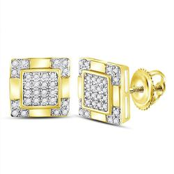 10kt Yellow Gold Mens Round Diamond Square Cluster Stud Earrings