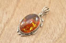 Bezel Set Amber Pendant Silver