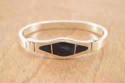 Blue Stone Inlay Hook Bangle Bracelet Silver