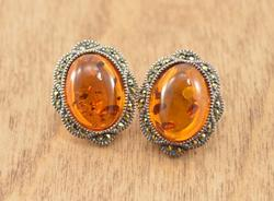 Unique Orange Stone Clip On Earrings Silver