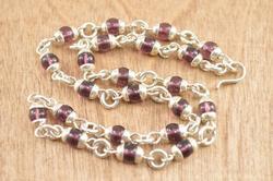 Purple Bead Link Necklace Silver