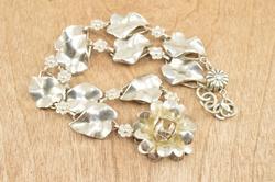 Vintage Floral Link Necklace Silver