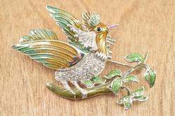 Unique Tropical Bird Pin / Brooch Silver