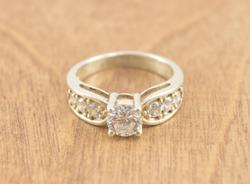 Engagement Style Prong Set Clear Stone Ring Size 7.75 Silver