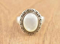 Geometric Spiral Trimmed White Stone Ring Size 6 Silver