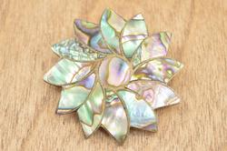 Vintage Style Abalone Inlay Flower Pin / Brooch Silver