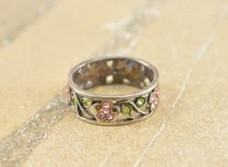 Pink Green Stone Encrusted Floral Motif Band Ring Size 5 Silver