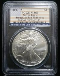 Certified Silver Eagle 2011-(S) MS69 PCGS San Francisco