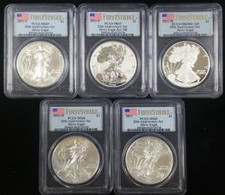 2011 Silver Eagle 25th Anniv 5pc Set MS & PF69 PCGS