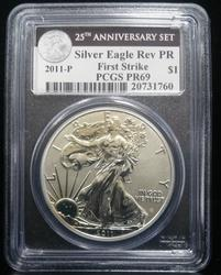 Certified Rev Proof Silver Eagle 2011-P PR69 PCGS 25th