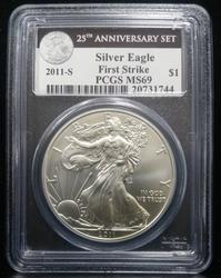 Certified Silver Eagle 2011-S MS69 PCGS 25th Aniv