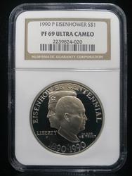 Certified US Commem Dollar Proof 1990P Eisenhower PF69