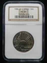 Certified US Commem 1/2 Dollar 1986D Liberty MS69
