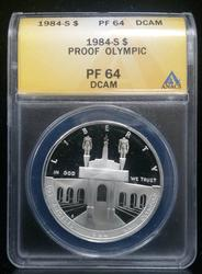 Certified US Commem Dollar Proof 1984S Olympic PF64