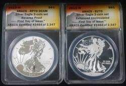 2013-W Silver Eagle West Point 2pc Set ANACS MS/PR70