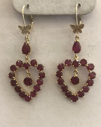 14kt Yellow Gold Ruby Heart Earrings
