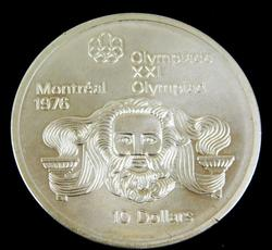 1974 Montreal Olympics 10 Dollar Silver Coin