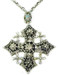 Ornate Vintage Sterling Crusader Cross and Chain