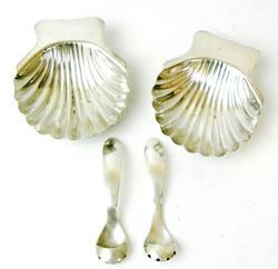 Vintage Sterling Shell Salt Dips & Spoons