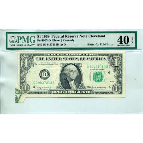 1969 $1 Federal Note ERROR Butterfly Fold XF40 PMG