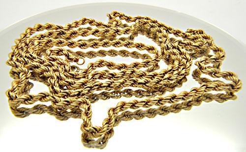 18 KT YELLOW GOLD 41.5 INCH ROPE CHAIN.