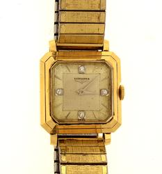 Mens Longines 14K Gold Watch with Diamonds