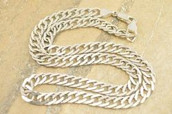 Pressed Rope Link Chain Necklace Silver