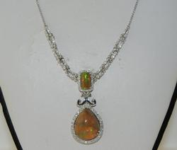 Stunning Opal & Diamond Necklace in 14K