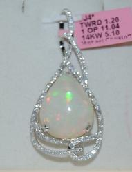 Opal & Diamond Pendant Necklace in 14K White Gold