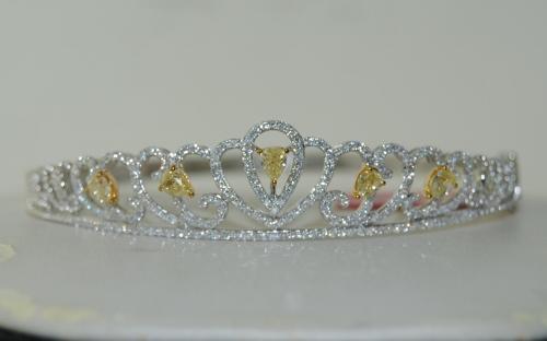 Fancy Yellow Diamond & Round Diamond Bangle in 18K