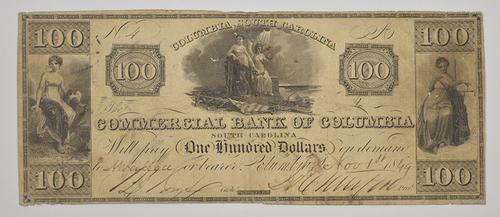 1849 $100.00 Commercial Bank Of Columbia, SC Large Horseblanket Note