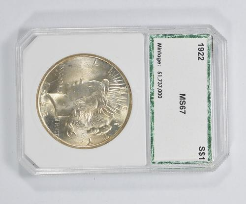 MS67 1922 Peace Silver Dollar - PCI Graded