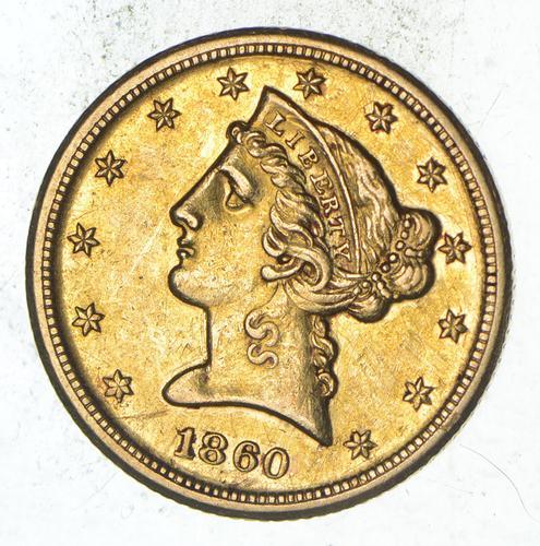 1860-D $5.00 Liberty Head Gold Half Eagle - Choice