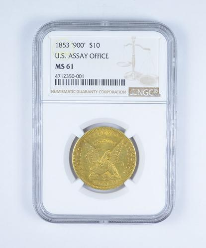 MS61 1853 $10.00 United States Assay Office Gold -