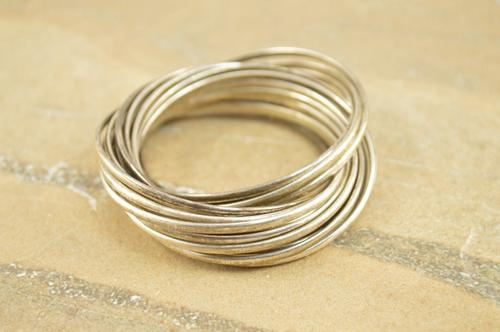 Rolling Ring Scarf Layered Pendant Silver