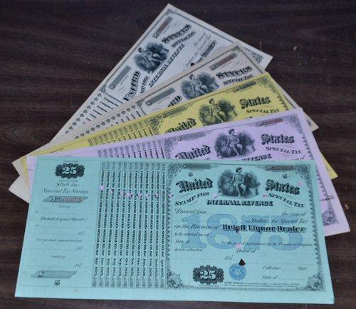 5 Lovely Old United States Liquor Licenses 1875-1885.