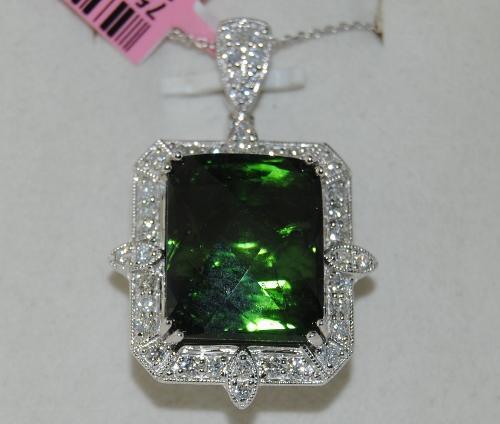 Green Tourmaline & Diamond Pendant in 14K