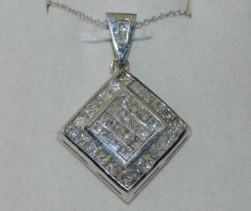 Princess Cut Diamond Pedant in 18K White Gold