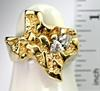 Unique 14K Texas Nugget Ring with Diamond