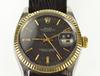 Oyster Perpetual Rolex Date Stainless Gold Bezel Men's Watch