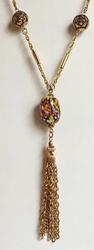 Fine 'Millefiori' Venetian Glass Beads, Flower Beads, w/ Tassel Necklace